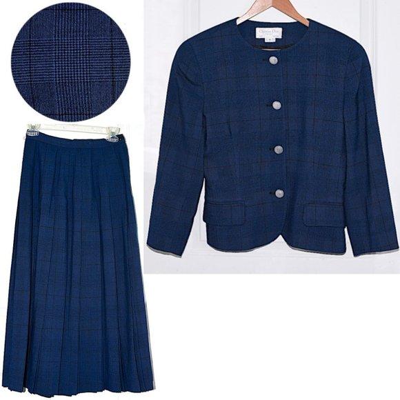 Christian Dior The Suit Vtg Blue Plaid Skirt Suit